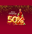 merry christmas sale 50 off ballon number vector image