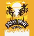 ocean drive miami beach florida summer poster vector image vector image