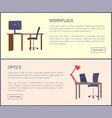 office workplace design table computer and chair vector image vector image