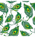 pattern with stylized peacock feather vector image vector image
