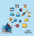 poster of digital marketing in blue background vector image vector image