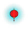 Red chinese lantern icon comics style vector image vector image