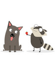 russel terrier and raccoon dog and raccoon vector image vector image