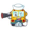 sailor with binocular school bus mascot cartoon vector image vector image