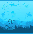 sea underwater background ocean bottom with vector image