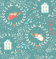 Seamless pattern with Christmas angels and homes vector image