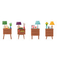 set bedside tables with lamp clock vase with vector image