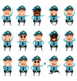 set flat police men icons vector image vector image