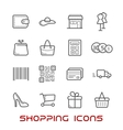 Shopping and retail thin line icons vector image vector image