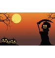 Silhouette of warlock and pumpkins vector image vector image