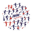 silhouettes of swing dancers isolated forming a vector image vector image