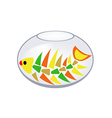 Skeleton of a fish in an aquarium vector image vector image