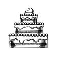 sketch a big pie with cream vector image