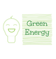 Smile light bulb icon with green energy word vector image