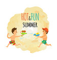 summer isolated icon children with water guns vector image