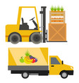 trucks loader shipping cars vehicles cargo vector image vector image