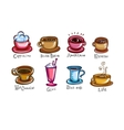 types of coffee vector image vector image