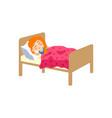 vecotr flat cartoon girl sleeping in bed vector image vector image