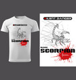 white t-shirt with abstract scorpion
