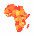 african map with countries borders abstract red vector image