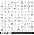 100 tea icons set outline style vector image vector image