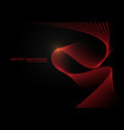 abstract red wave curve 3d light on black design vector image vector image
