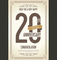 anniversary retro vintage background 20 years vector image vector image