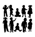 attractive and happy kids silhouettes vector image vector image