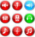 Audio round icons vector image vector image