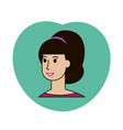 beauty girl face avatar with pony tail vector image vector image
