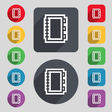 Book icon sign A set of 12 colored buttons and a vector image