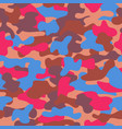 camouflage seamless pattern in brown blue and red vector image