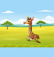 cartoon giraffe sitting in the jungle vector image