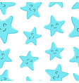 cartoon starfish seamless pattern isolated on vector image