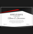 certificate template in elegant black and red vector image vector image