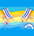 chaise lounge origami sea and beach sport ball vector image