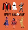 children and teenagers dressed up in halloween vector image vector image