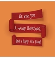 Christmas and New Year greeting red Ribbons Set vector image vector image