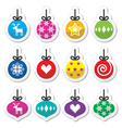 Christmas ball Christmas bauble colorful labels s vector image