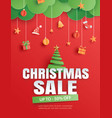 christmas sale with tree and element object on vector image