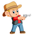 cute boy dressed as a cowboy with revolver vector image vector image