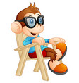 cute cartoon monkey relaxing on the chair vector image vector image