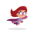 cute funny superhero girl character in a purple vector image vector image