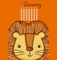 cute lion calendar cartoon vector image