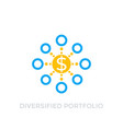 diversified portfolio icon on white vector image vector image