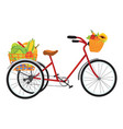 farmer bike full of fruits and vegetables vector image vector image