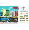 flat transport in city concept vector image vector image