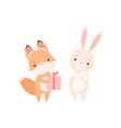 fox cub giving gift to white little bunny cute vector image vector image