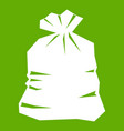 garbage bag icon green vector image vector image