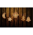 Gingerbread man tree and stars vector image vector image